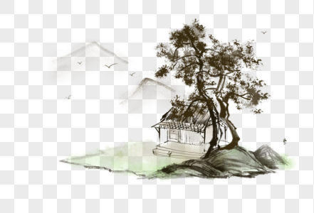 中国风写意山水房屋图片