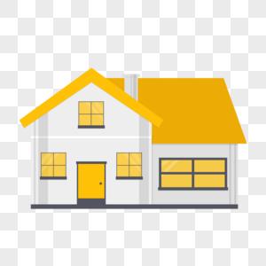 黄色房子建筑扁平化插画图片