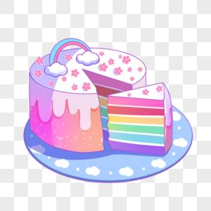 彩虹樱花蛋糕图片