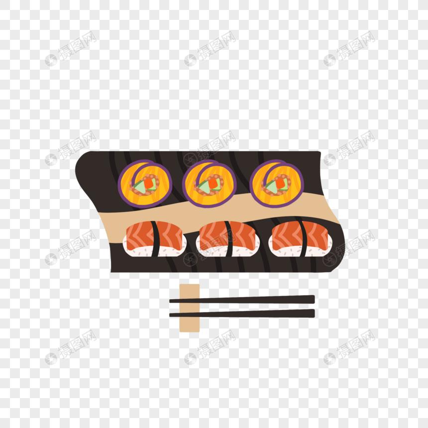 紫番薯寿司和三文鱼图片