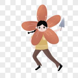 搞怪花朵小人拿着雨伞图片