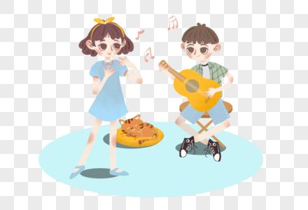 情侣音乐创意插画图片