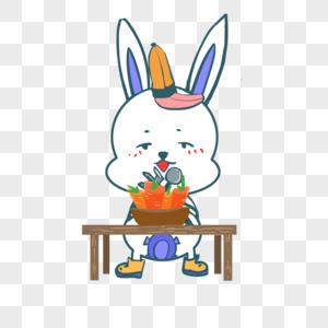 吃萝卜的兔子图片