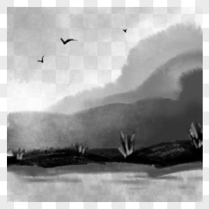 卡通手绘充满意境的水墨风景画图片