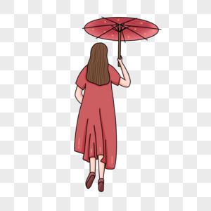 手绘中国风少女手持雨伞背影人物形象图片