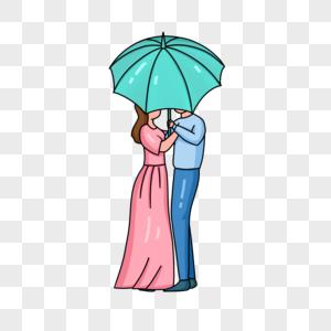 手绘情侣手持雨伞人物形象图片
