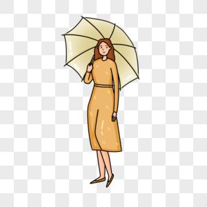 手绘少女手持雨伞人物形象图片