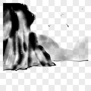 卡通手绘充满意境的水墨山水画图片