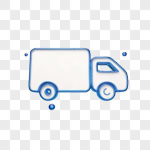 创意蓝色箱货车图标图片