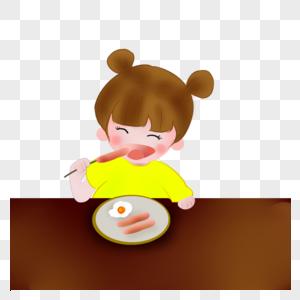 吃早餐的女孩图片