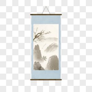 中国风卷轴挂画装饰图片