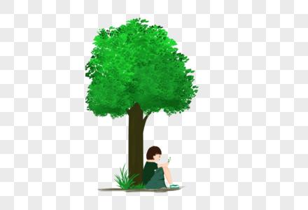 树下乘阴的小女孩图片