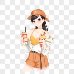 拿着冰激凌的女孩图片
