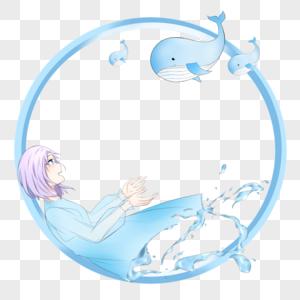 鲸鱼圆形边框图片