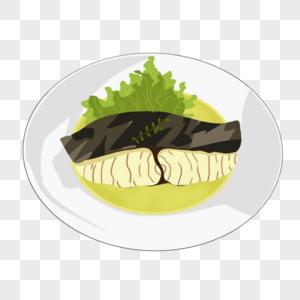 手绘美食西西餐鱼图片