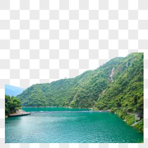 高山流水成碧湖图片