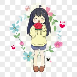 吃西瓜的少女图片