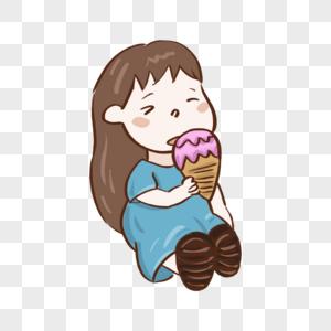 夏天小女孩在吃冰淇淋图片