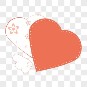 520红色爱心小翅膀可爱边框图片