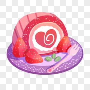 草莓爱心瑞士卷海绵蛋糕图片