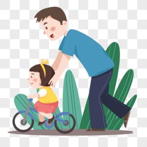 手绘卡通父亲节陪孩子骑自行车的爸爸图片