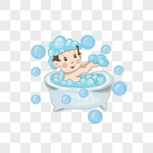 洗澡的小男孩图片