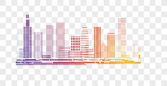 炫酷粒子城市建筑元素图片