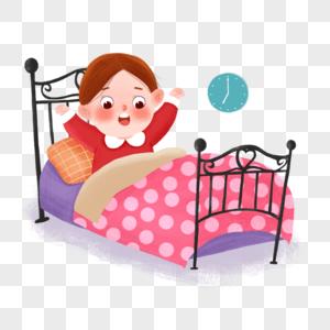 手绘起床可爱小女孩场景插画图片