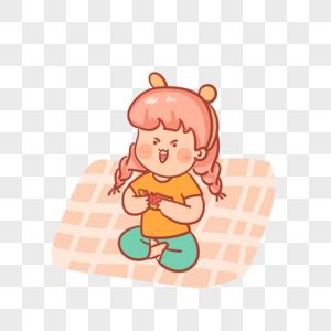 吃西瓜的女孩图片