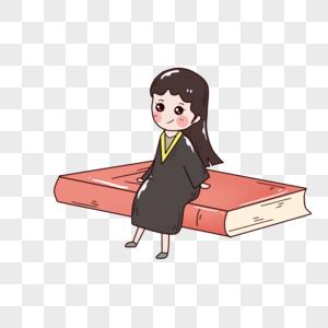 书本与学生服女孩图片