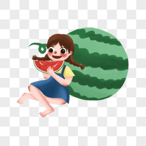 靠着西瓜吃西瓜的女孩图片
