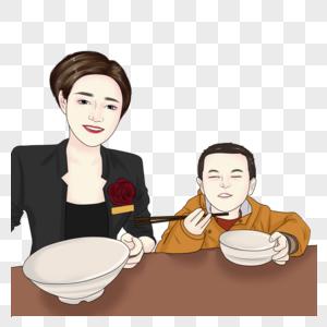 妈妈和孩子在吃饭图片