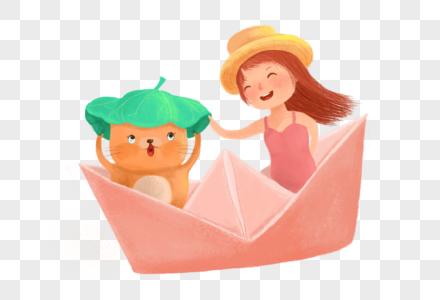 坐在船里的女孩和猫图片