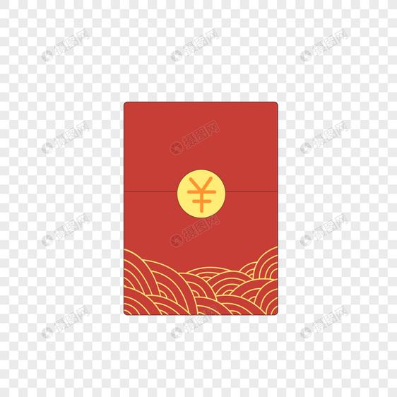 手绘卡通小清新创意简约云纹红色红包素材免抠图片