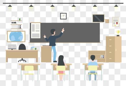中学的教室和老师图片