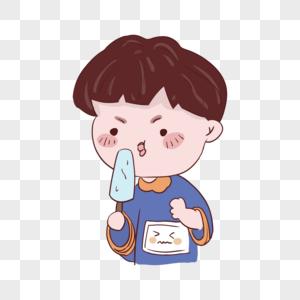 夏天可爱的小男孩在吃冰棒图片