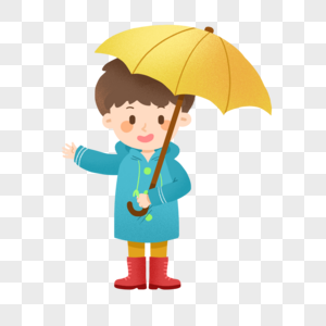 雨天撑着伞穿着雨衣的男孩图片