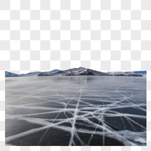 冬季贝加尔湖上壮观的冰裂图片