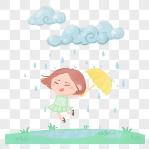 雨天小女孩图片
