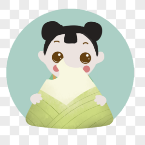 手绘端午节圆形小孩吃粽子图标图片