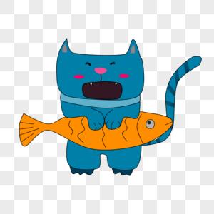 猫吃鱼图片
