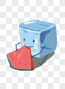 冰块西瓜图片