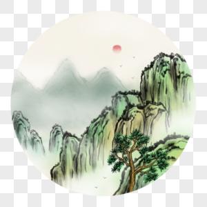 中国风高山风景画图片