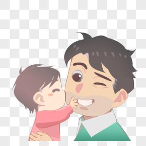 孩子亲吻爸爸图片