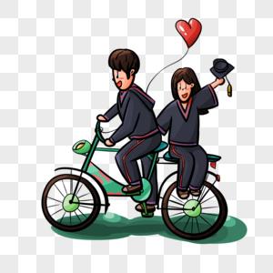 单车上的毕业情侣图片