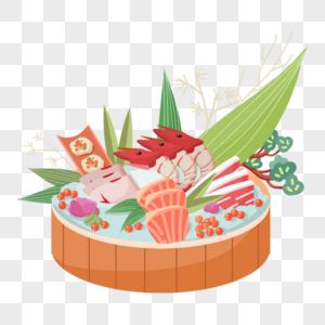 拼盘日本快餐海鲜生鱼片海鲜虾鱼子鳗鱼芥末图片