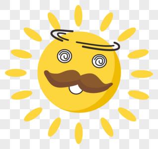 晕眩的太阳卡通元素图片