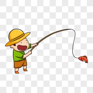 钓鱼的草帽男孩图片