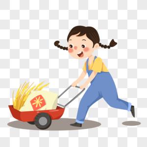 推着丰收稻米谷物的小女孩图片