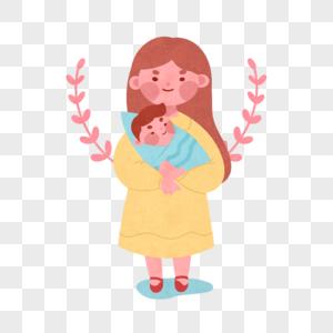 手绘母子图片